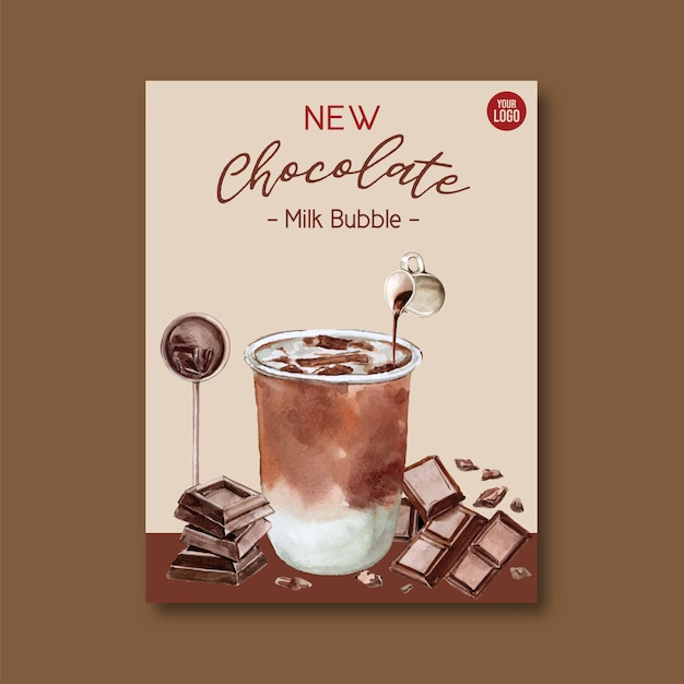 Juego de té de leche de chocolate con burbujas, anuncio de cartel, plantilla de volante, ilustración acuarela vector gratuito