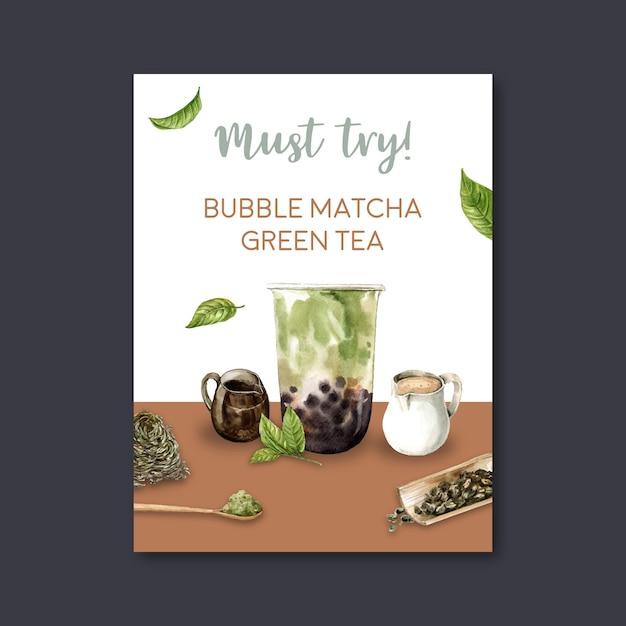 Juego de té de leche matcha burbuja, anuncio de cartel, plantilla de volante, ilustración acuarela vector gratuito
