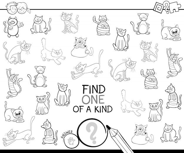 Juego único con gatos para colorear | Descargar Vectores Premium