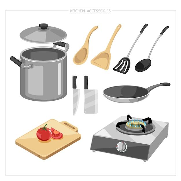 Juego de utensilios de cocina para cocinar, como cazuela, cacerola, tabla de cortar, tabla de cortar, cuchillo, estufa de gas Vector Premium
