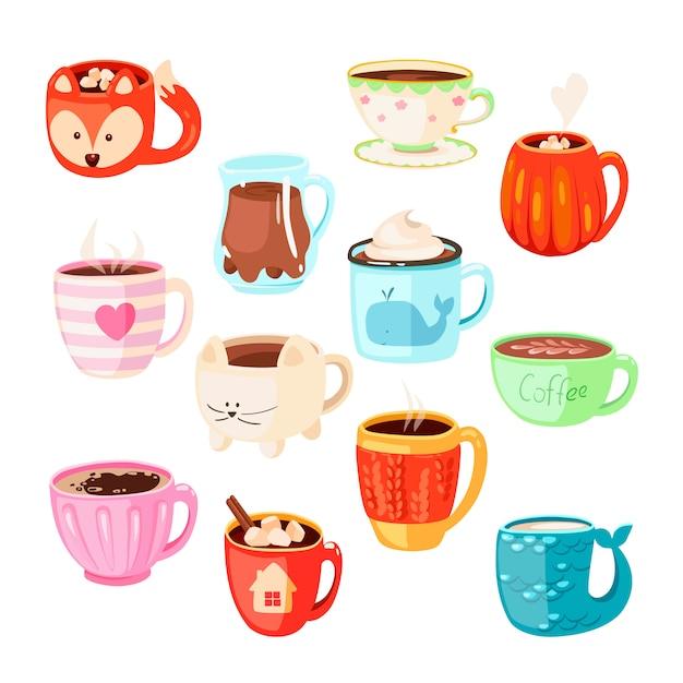 Juego de varias tazas con bebidas, té o café. cacao con malvaviscos, bebidas para calentar el invierno y taza de espresso caliente. chocolate caliente en tazas lindas para el hogar o tazas de capuchino y latte de invierno. Vector Premium