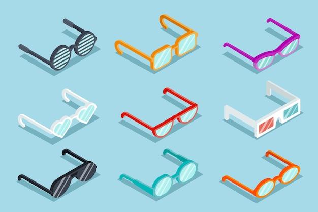 Juego de vasos de vector isométrico. gafas de sol y lentes, objeto óptico, anteojos vector gratuito