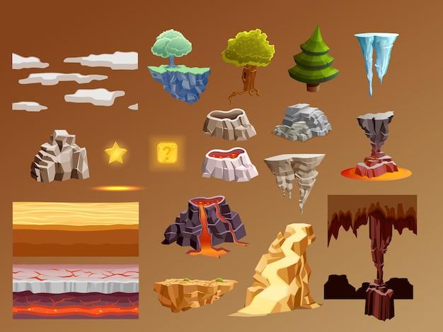 Juegos de computadora de dibujos animados elementos 3d set vector gratuito