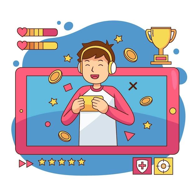 Juegos en línea ilustrados vector gratuito