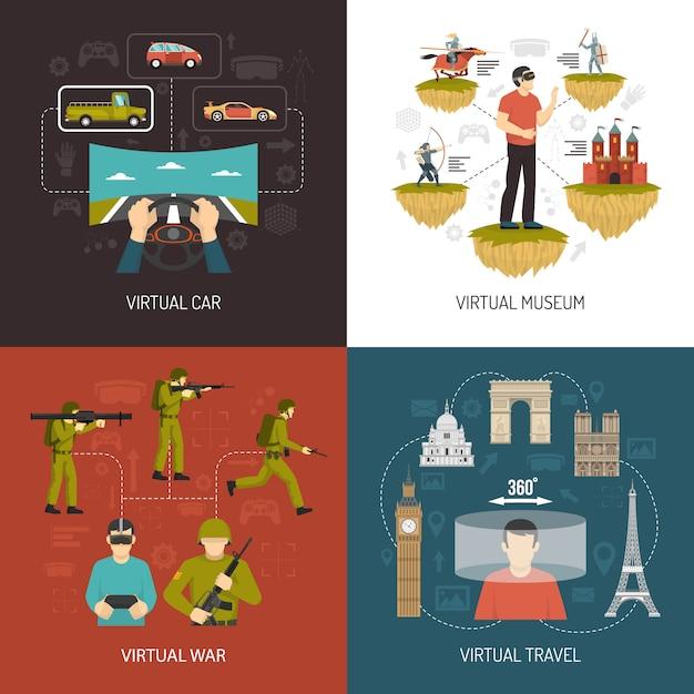 Juegos de realidad virtual 2x2 design concept vector gratuito