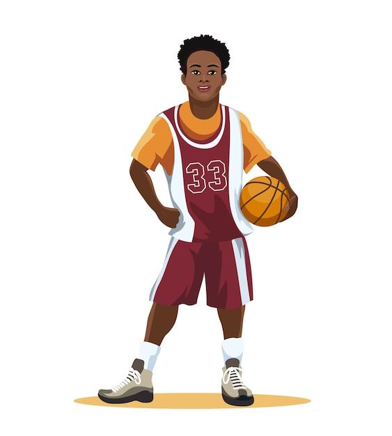 Jugador de baloncesto en uniforme con balón en mano aislado en blanco. vector gratuito