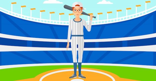 Jugador de beisbol con bate Vector Premium