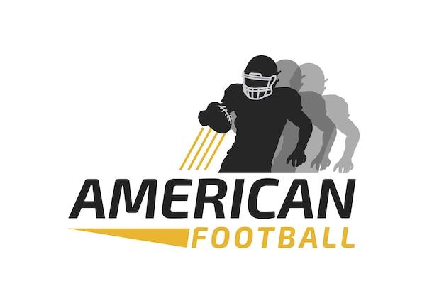 Jugador corriendo con el logo de pelota de fútbol vector gratuito
