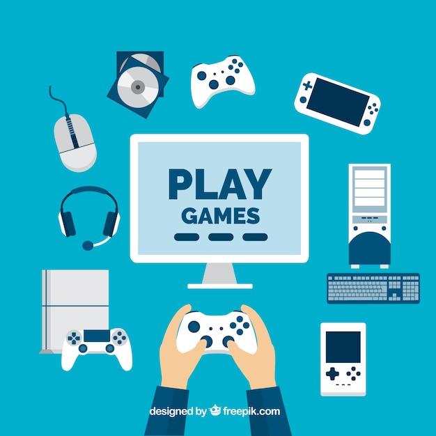 Jugador con elementos de videojuegos en diseño plano Vector Premium