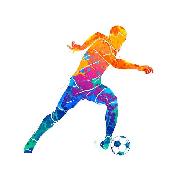 Jugador de fútbol abstracto corriendo con el balón de salpicaduras de acuarelas. ilustración de pinturas. Vector Premium