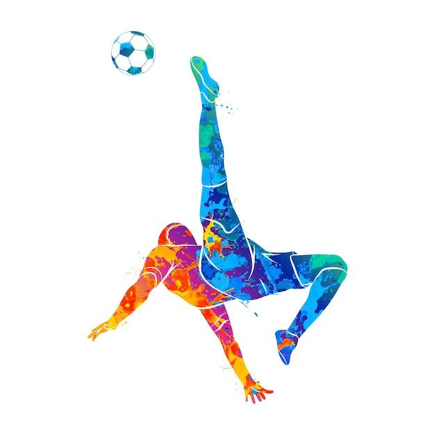 Jugador de fútbol abstracto disparar rápidamente una bola de salpicaduras de acuarelas. ilustración de pinturas. Vector Premium