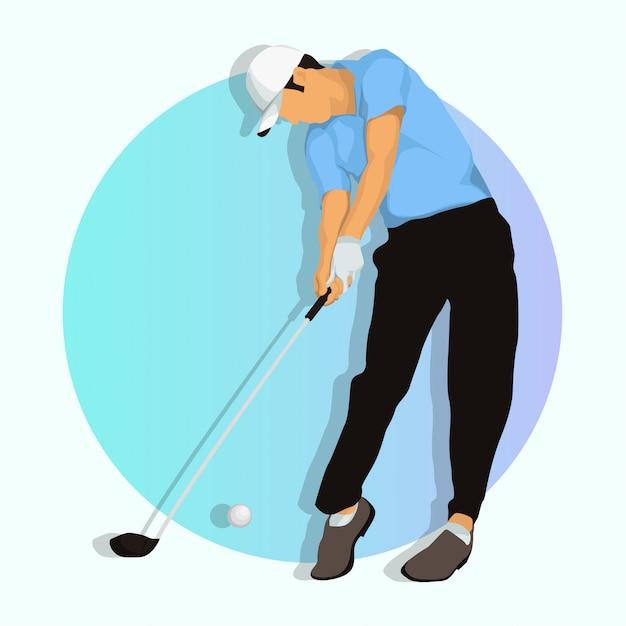 Jugador de golf Vector Premium