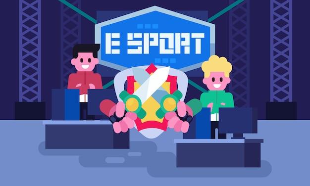 Jugador profesional de e-sport, videojuegos competitivos en torneos de juegos. espera antes de comenzar el partido. arena de juego Vector Premium