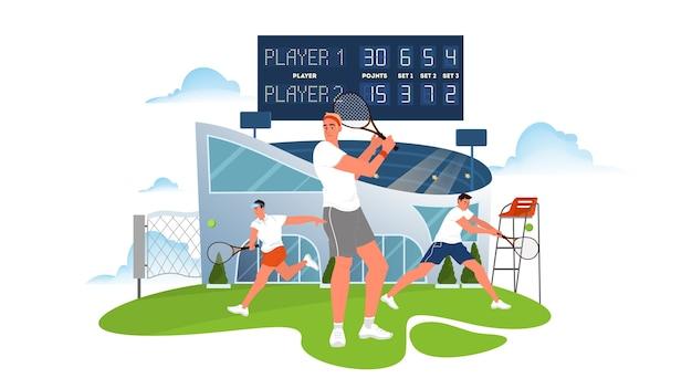 Jugador de tenis sosteniendo una raqueta en la cancha de tenis. entrenamiento de tenistas. atleta en el estadio. torneo de campeonato. ilustración Vector Premium