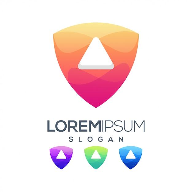 Jugar diseño de logotipo de color degradado Vector Premium