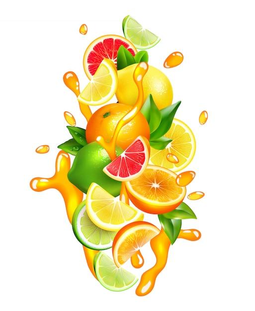 Jugo de frutas cítricas gotas composición colorida vector gratuito