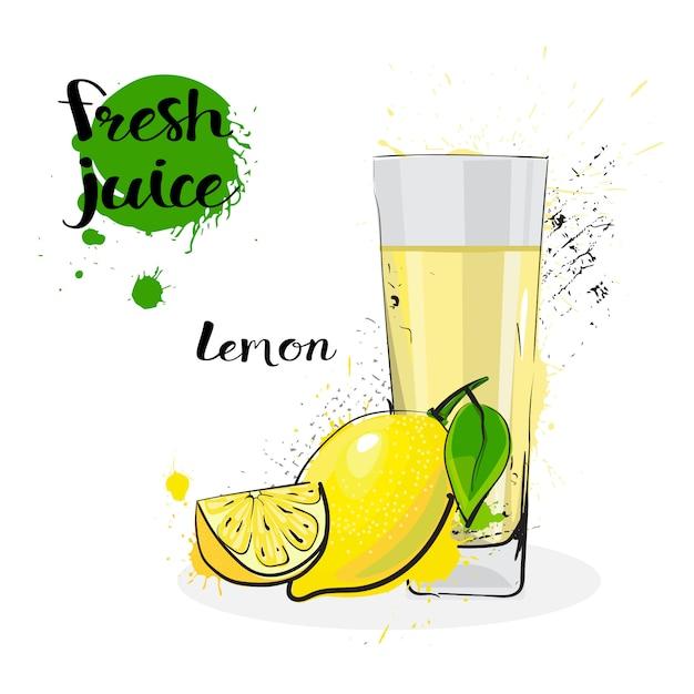 Jugo de limón fresco dibujado a mano acuarela frutas y vidrio sobre fondo blanco Vector Premium