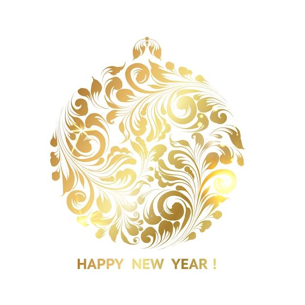 Juguete de navidad dorado sobre fondo blanco. vector gratuito