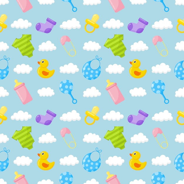 Juguetes para bebés y ropa iconos de patrones sin fisuras. artículos recién nacidos en azul. Vector Premium