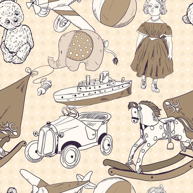 Juguetes boceto de papel tapiz de patrones sin fisuras vector gratuito