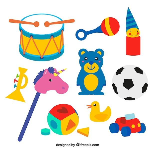 Juguetes infantiles coloridos descargar vectores gratis for Juguetes para jardin infantil