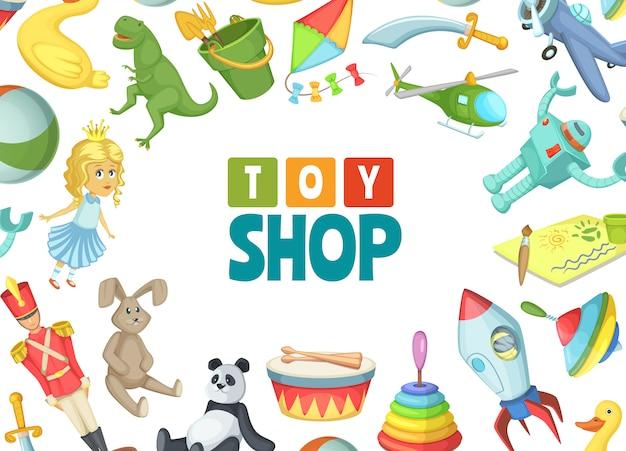 Juguetes infantiles de dibujos animados con lugar para ilustración de texto Vector Premium