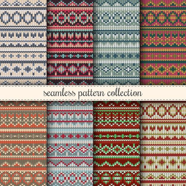 Jumper de navidad sin costura colección de patrones. suéter de punto ...