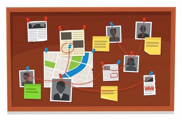 Junta de detectives. tabla de conexiones de evidencia delictiva, periódicos anclados y fotos policiales. ilustración de evidencias de investigación Vector Premium