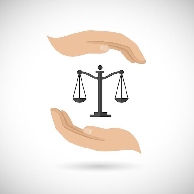 Justicia, dos manos y una balanza vector gratuito