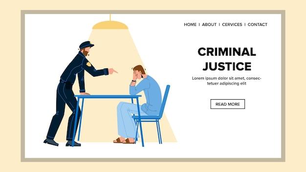 Justicia penal en la sala de la oficina de policía Vector Premium