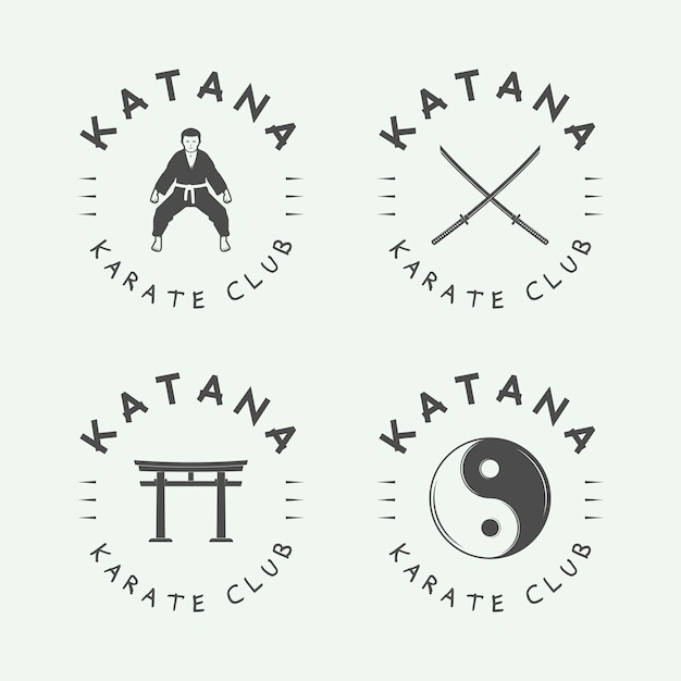 Karate o logotipo de artes marciales Vector Premium