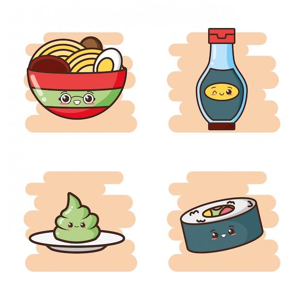 Kawaii comida rápida linda comida asiática ilustración vector gratuito