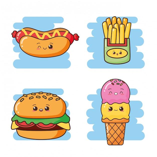 Kawaii, comida rápida, lindo, comida rápida, helado, hamburguesa, perrito caliente, papas fritas, ilustración vector gratuito