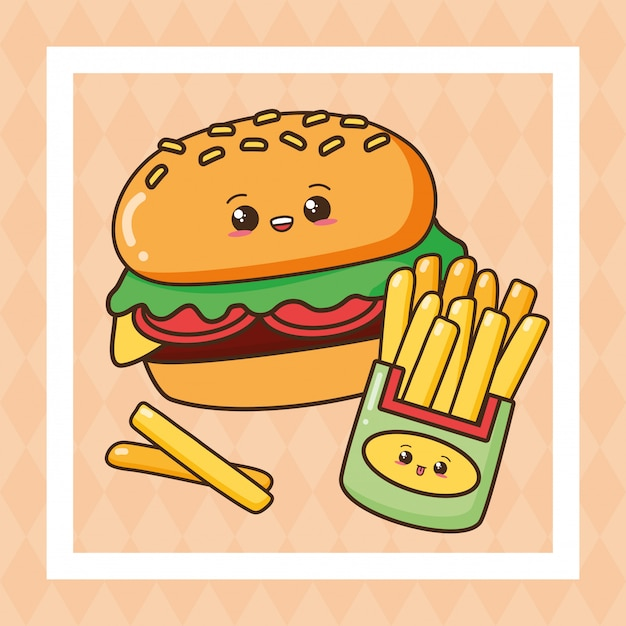 Kawaii, comida rápida, lindo, comida rápida, ilustración vector gratuito