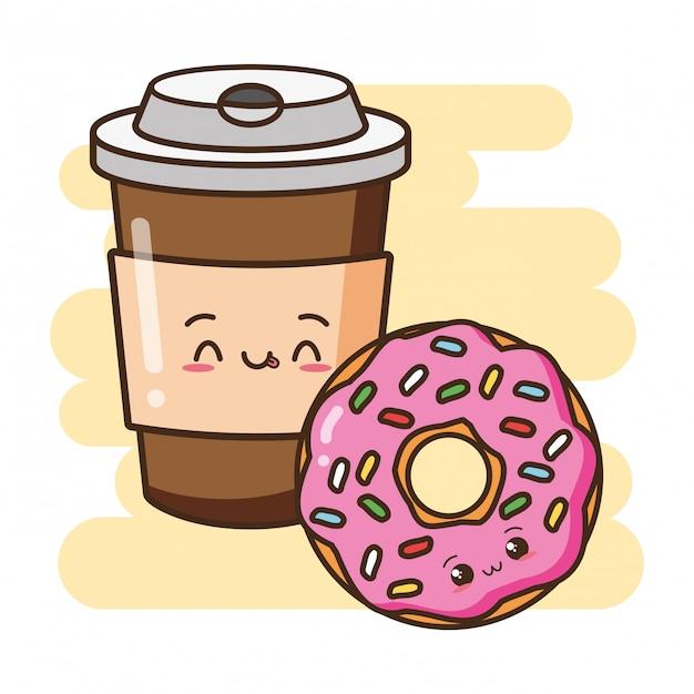 Kawaii comida rápida lindo donut y café ilustración vector gratuito