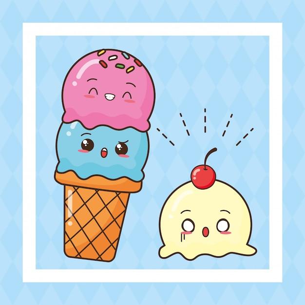 Kawaii, comida rápida, lindo, helado, ilustración vector gratuito
