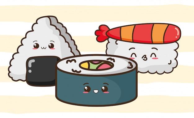 Kawaii comida rápida lindo sushi, ilustración de comida asiática vector gratuito
