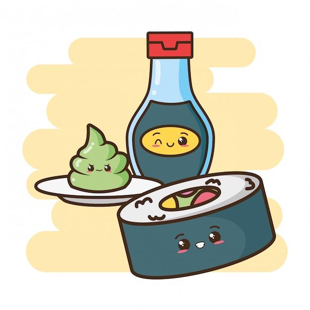 Kawaii comida rápida sushi y comida asiática ilustración vector gratuito