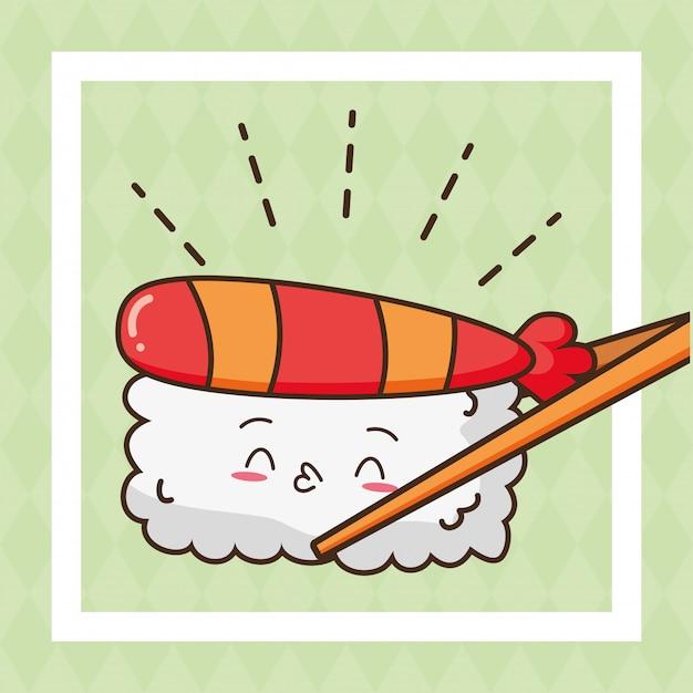 Kawaii comida rápida sushi comida linda ilustración vector gratuito