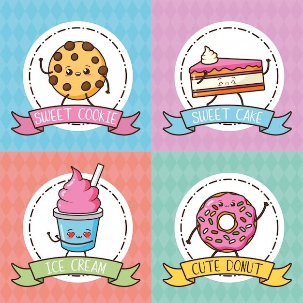 Kawaii cookie, pastel, donut y helado en colores pastel, ilustración vector gratuito