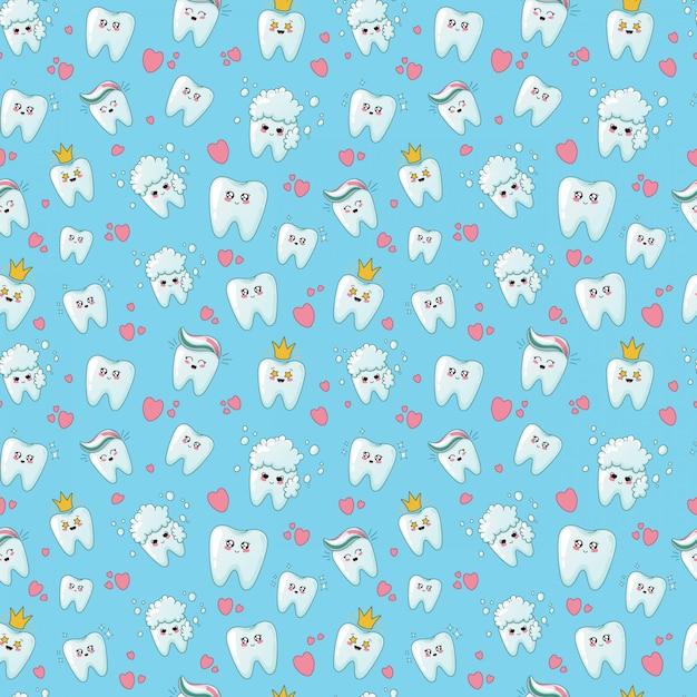 Kawaii cuidado dental de patrones sin fisuras Vector Premium