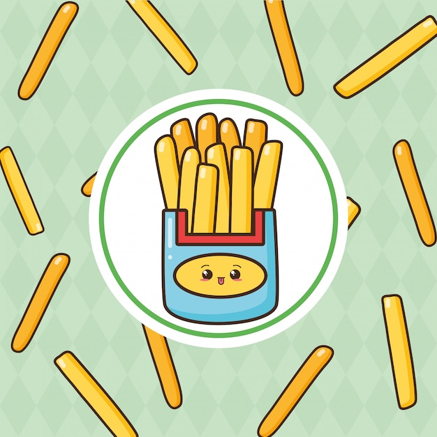 Kawaii fast food cute frieas con papas fritas ilustración vector gratuito