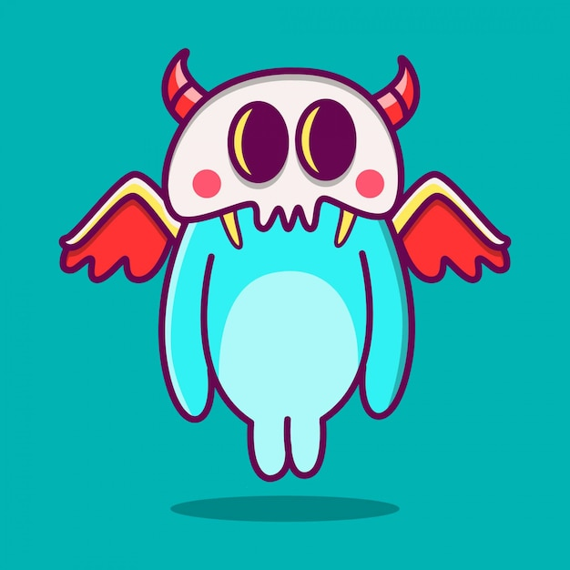 Kawaii, garabato, caricatura, monstruo, ilustración Vector Premium