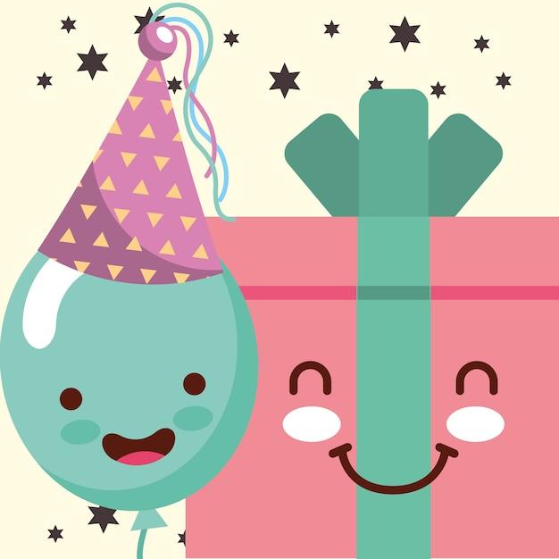 Kawaii gift box dibujos animados y sonrisa globo sombrero fiesta ... e4ffcec2890