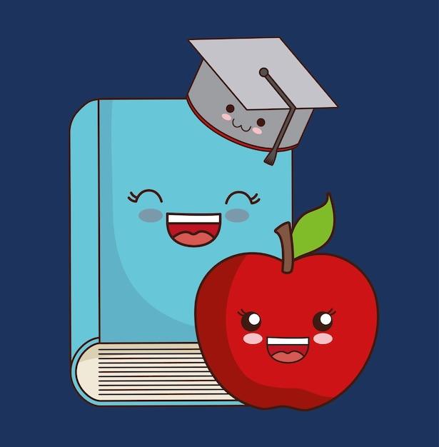 Book Cover Portadas Kawaii : Kawaii libro y manzana icono descargar vectores premium