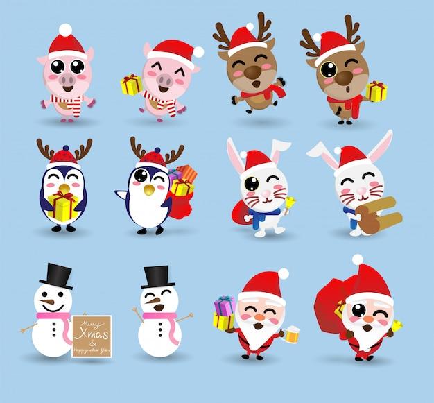Kawaii Linda Navidad Santa Claus Y Amiga Descargar Vectores Premium