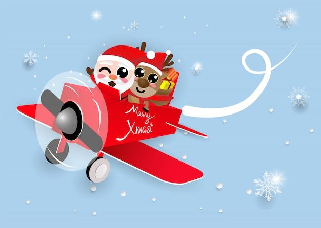 Kawaii Linda Navidad Santa Claus Y Reno Descargar Vectores Premium