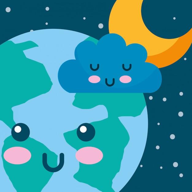 Kawaii Planeta Tierra Nube Y Estrella Espacio De Dibujos Animados