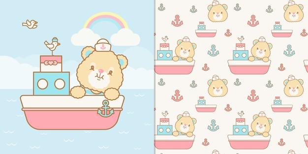 Kawaii sailor bear ilustración y patrones sin fisuras Vector Premium