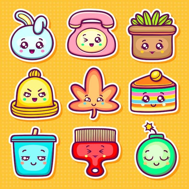 Kawaii sticker icons dibujado a mano doodle para colorear vector gratuito